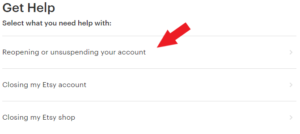 reopening or unsuspending your account selection