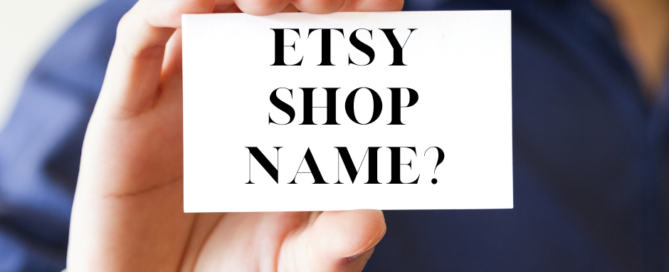 """guy holding business card with """"Etsy shop name?"""" on it"""