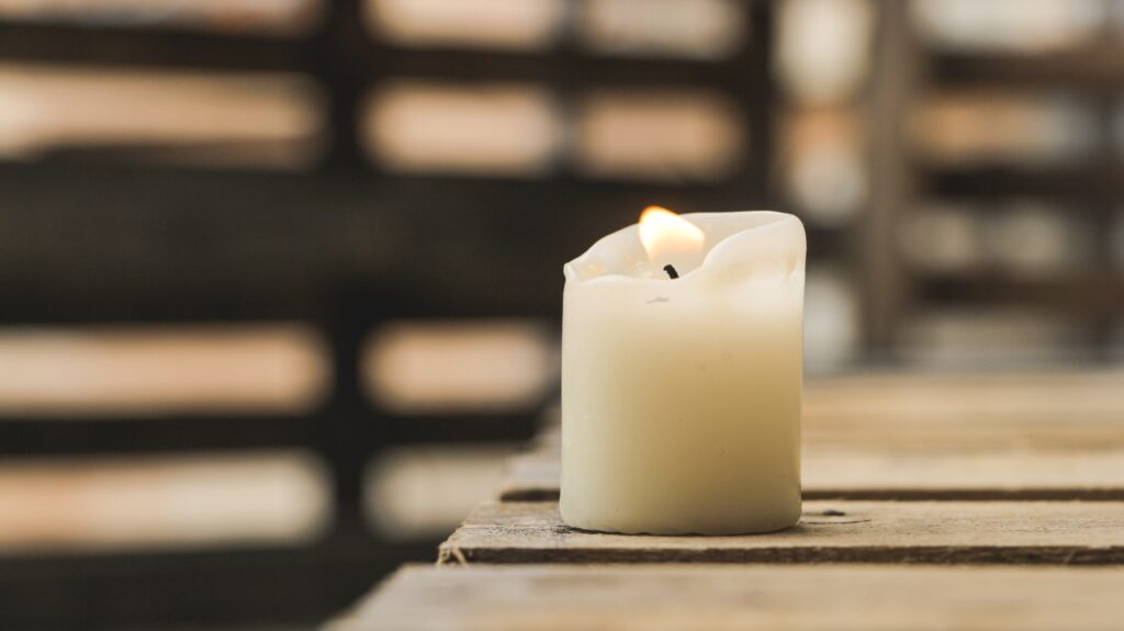 essential oil candle burning