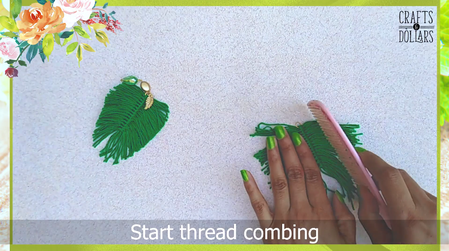 combing threads of the feather