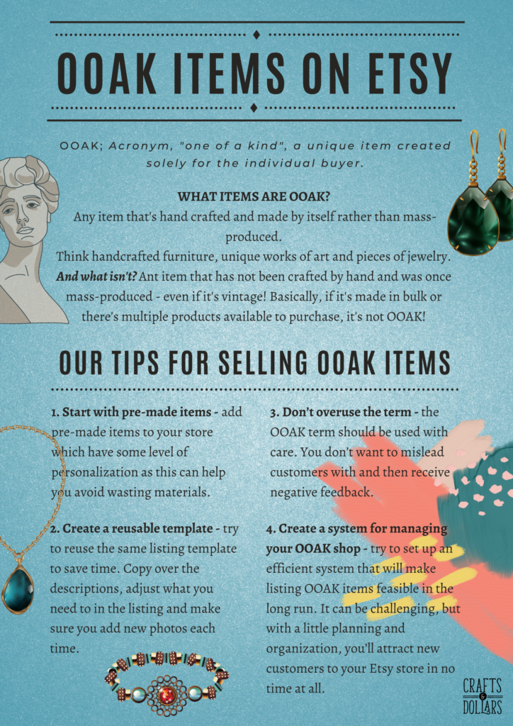 ooak items on etsy infographic