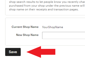 changing etsy shop name, step 6, save new name